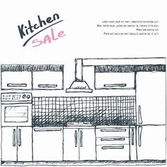 Modular kitchen sale. Flyer, brochure, poster, advertisment. Vector illustration.