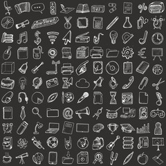 Set of computer, business and school icons.