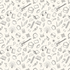 Hand drawn school icons seamless pattern.