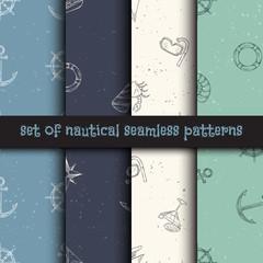 Nautical seamless patterns set.