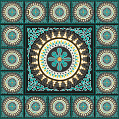 Blue cambodian tile design