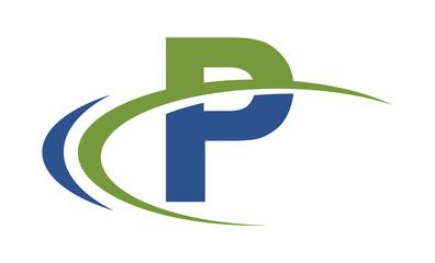 P swoosh blue green letter logo