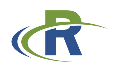 R swoosh blue green letter logo
