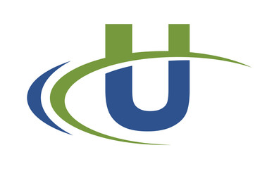 U swoosh blue green letter logo