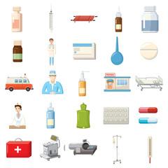 Medicine equipment icons set, cartoon style