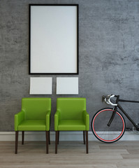 Two green chairs, bike and frames on wall
