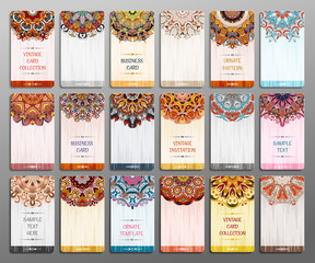 Business card collection. Vector background. Vintage decorative elements. Hand drawn background.