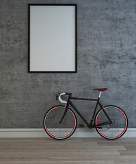 Large blank picture frame and bicycle