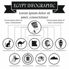 Egypt infographic elements, simple style