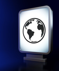 Science concept: Globe on billboard background