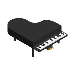 Black grand piano icon, isometric 3d style