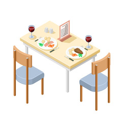 A vector isometric illustration of Evening Meal at a Restaurant. Eating Dinner at a restaurant.