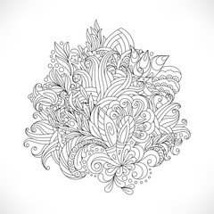 Decorative paisleys element collection. Vector illustration. Good for coloring book for adult and older children. Coloring page. Outline drawing.