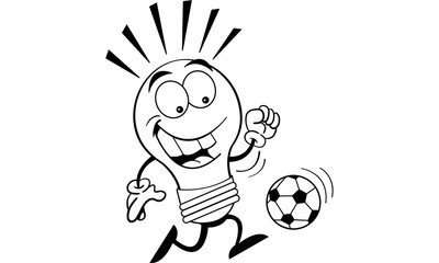 Black and white illustration of a light bulb playing soccer.