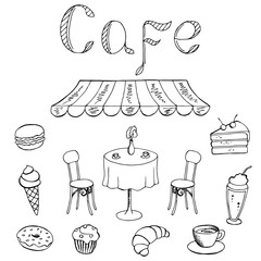 Cafe food graphic art black white isolated illustration vector