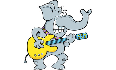 Cartoon illustration of a elephant playing a guitar.