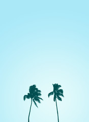 Twin Retro Palm Tree Silhouette Design