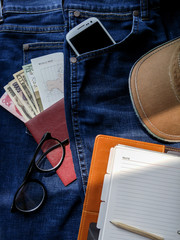 Flat lay photography of men's casual outfits, Outfits of traveler