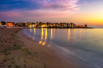 sunrise at the beach of resort town