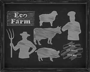 beautiful beef, pork, lamb and farmer, cook