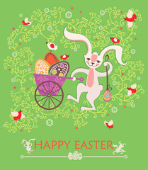 Cute White Rabbit and Easter egg. Easter greeting card.
