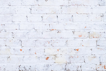Background of old white vintage brick wall