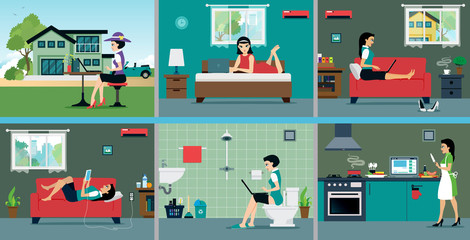 Technology and communications in the daily lives of women.