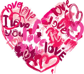 Heart shape is made of brush strokes and scribbles and words LOV