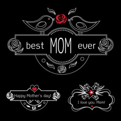 Vintage Mothers Day Labels Set On Chalkboard. best Mom ever, happy Mothers day and I love you, Mom gift card. Vector Mothers day
