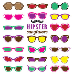 Hipsters colorful sunglasses vector set