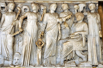 Wall Mural - Bas-relief and sculpture of ancient Roman Gods