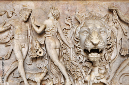 Wall mural Bas-relief and sculpture of ancient Roman Gods and a lion head