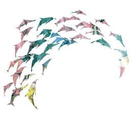 watercolor silhouette of the dolphin.