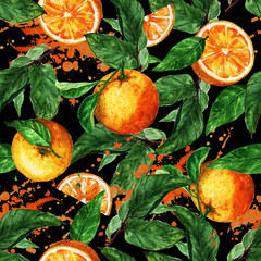 Watercolor seamless pattern - Orange