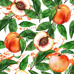 Watercolor seamless pattern - Peach