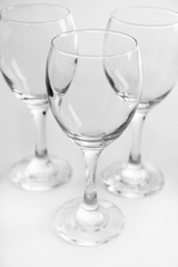 Wineglasses on white table closeup