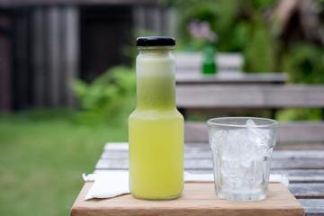 Fresh guava juice in a bottle