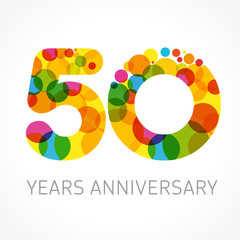 50 years anniversary circle colored logo. Template logo 50th anniversary with a circle in the form of a color bubble