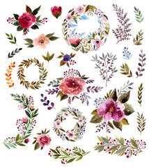 Big collection: floral wreath, roses and leaves