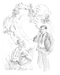 A man in a business suit with telephone. The history of communications.Drum, messenger, telegraph, radio, courier. Drawn with  pencils, drawing by hand.
