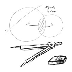 doodle compass, drawing tool and eraser