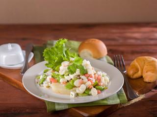 Solterito, a corn and lima bean salad, a typical Peruvian dish