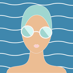 Woman in swimming cap