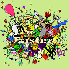 Easter design vector line art