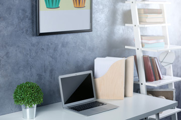 Interior of modern workplace for designer, indoor