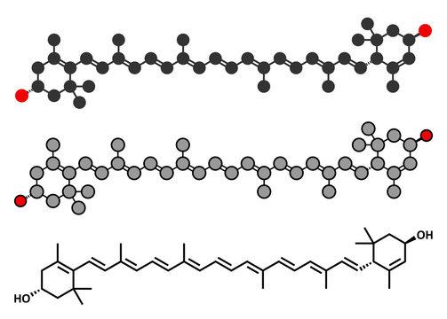 Lutein yellow-orange plant pigment molecule.