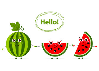 Funny Cartoon fruits with eyes in flat style. Watermelon. Colorful Vector Clip art. Isolated illustration on white