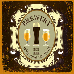 Beer label design. Label contains images of beer glasses,ribbons and text on vintage background.Vintage style.