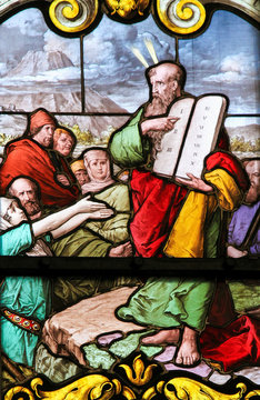 Moses and the Stone Tablets - Stained Glass