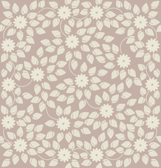 Elegant seamless pattern with  small flowers and leaves